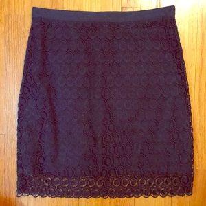 LOFT Dark Navy Blue Lace Skirt
